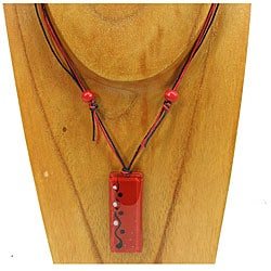 Fused Glass Red Rectangular Necklace (Chile)
