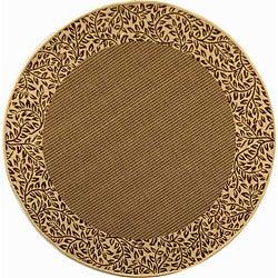 Indoor/ Outdoor Brown/ Natural Rug (6'7 x Round)
