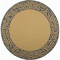 Safavieh Indoor/ Outdoor Natural/ Blue Area Rug (5'3 Round)