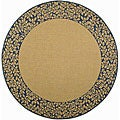 Indoor/Outdoor Natural/Blue Area Rug (6'7 Round)
