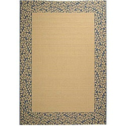 Indoor/Outdoor Natural/Blue Synthetic Rug (5'3 x 7'7)