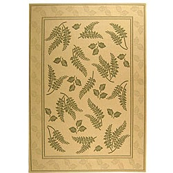 Indoor/ Outdoor Ferns Natural/ Olive Rug (5'3 x 7'7)