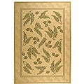 Indoor/ Outdoor Ferns Natural/ Olive Rug (7'10 x 11')