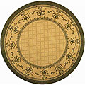 Indoor/ Outdoor Royal Natural/ Olive Rug (5'3 Round)