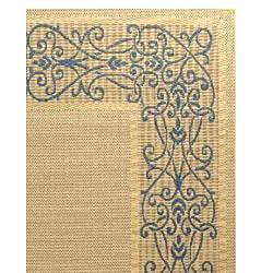 Safavieh Indoor/ Outdoor Ocean Natural/ Blue Rug (5'3 x 7'7)