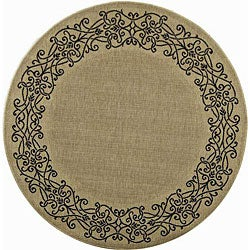 Indoor/ Outdoor Ocean Sand/ Black Rug (6'7 Round)