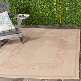 Safavieh Indoor/ Outdoor Beachview Natural/ Terracotta Rug (4' x 5'7)