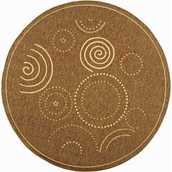 Safavieh Indoor/ Outdoor Resort Brown/ Natural Rug (5'3 Round)