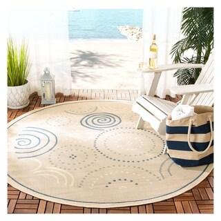 Safavieh Indoor/ Outdoor Resort Natural/ Blue Rug (5'3 Round)