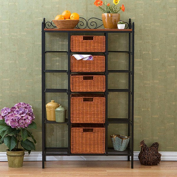 Harper Blvd Storage Shelves with Rattan Baskets