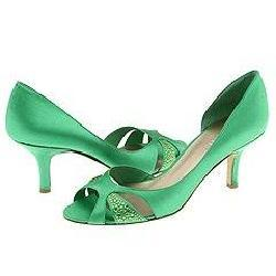 Nine West Favorly Green Satin Pumps