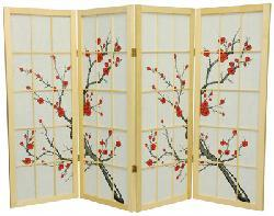 Spruce Wood Cherry Blossom Shoji 6-panel Room Divider (China)