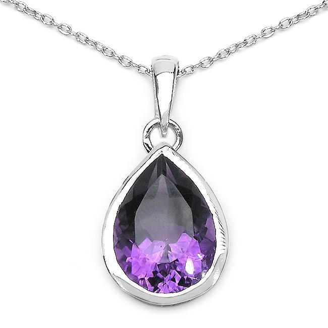 Malaika Sterling Silver Genuine Amethyst Teardrop Necklace