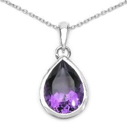 Malaika Sterling Silver Genuine Amethyst Teardrop Necklace