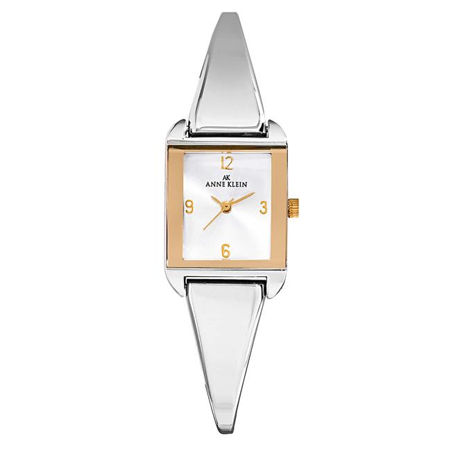 Anne Klein Womens Two Tone Square Bangle Watch