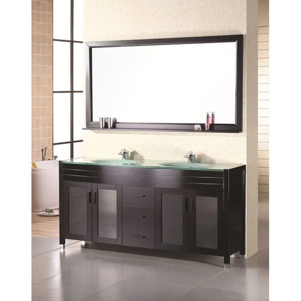 Design Element Double Sink   Inch Waterfall Faucet Bathroom Vanity
