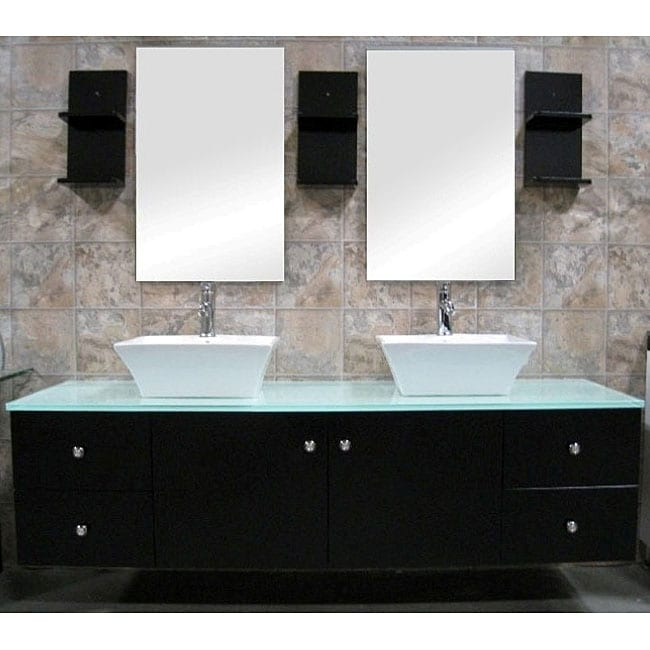 design element contemporary double sink bathroom vanity with vessel
