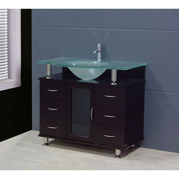 Design Element Contemporary Bathroom Vanity Set with Frosted Top