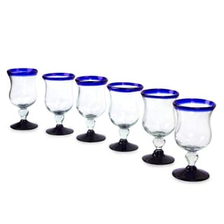 Hand Blown Set of 6 Spring Blue Wine Glasses (Mexico)
