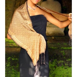 Silk Batik 'Golden Rings' Scarf (Indonesia)