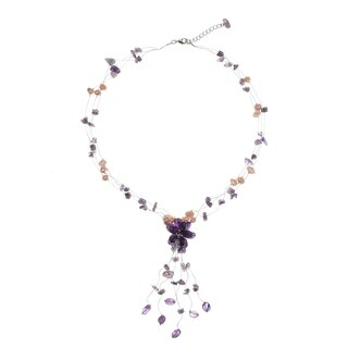 Handcrafted Amethyst and Pearl Fantasy Freshwater Pearl Purple Gemstone Gosammer Necklace (Thailand)