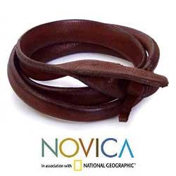Leather 'Brown Triple Twist' Bracelet (Thailand)