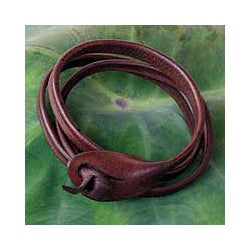 Leather 'Brown Triple Twist' Bracelet (Thailand)