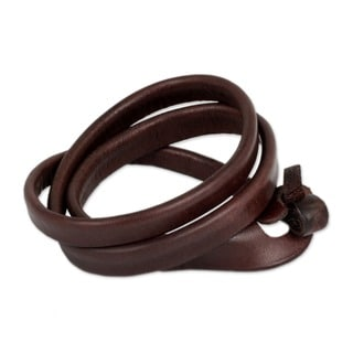 Triple Twist Unique Polished Brown Leather Handcrafted Artisan Wristband Wrap Bracelet (Thailand)