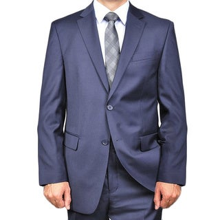 Men's Solid Navy Blue 2-button Wool Suit