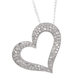 Miadora Sterling Silver 1ct TDW Diamond Heart Necklace (J-K, I3)