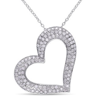Haylee Jewels Sterling Silver 1ct TDW Diamond Heart Necklace (J-K, I3)