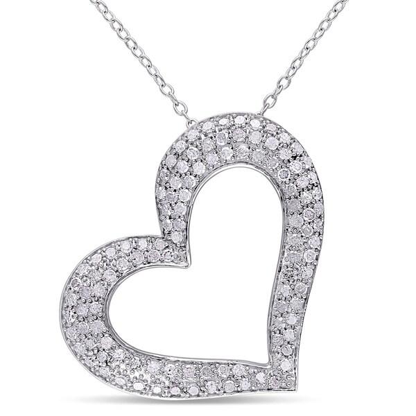 Miadora Sterling Silver 1ct TDW Diamond Heart Necklace (J-K, I3)
