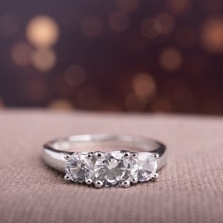 Miadora 10k White Gold Created 3-stone White Sapphire Ring