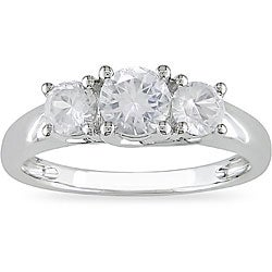 Miadora 10k White Gold Created White Sapphire Ring
