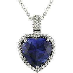 Miadora Sterling Silver Created Sapphire Diamond Necklace
