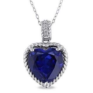 Miadora Sterling Silver Created Sapphire Diamond Necklace
