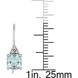 Miadora 10k White Gold Blue Topaz and Diamond Earrings