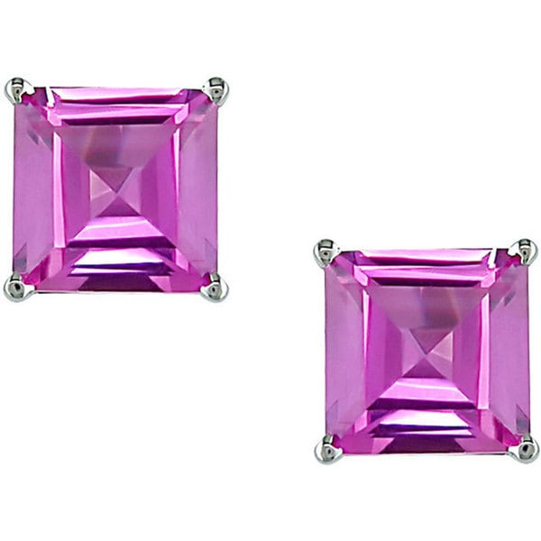 Miadora 10k White Gold Created Pink Sapphire Earrings