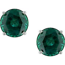 Miadora 10k White Gold Created Emerald Earrings
