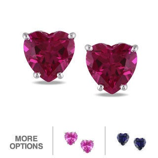 Miadora 10k White Gold Created Gemstone Heart Earrings