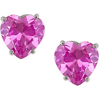 Miadora 10k Gold Created Pink Sapphire Heart Stud Earrings