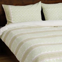 Stripe Diamond Spring Green Duvet Set (India)