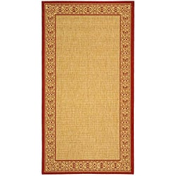 Safavieh Indoor/ Outdoor Oceanview Natural/ Red Rug (2'7 x 5')