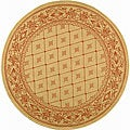 Indoor/ Outdoor Summer Natural/ Terracotta Rug (6'7 Round)