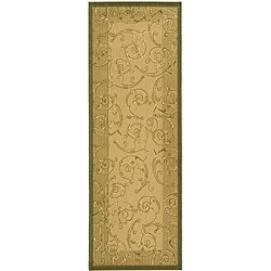 Safavieh Indoor/ Outdoor Oasis Natural/ Olive Runner (2'4 x 6'7)