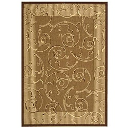 Indoor/ Outdoor Oasis Brown/ Natural Rug (4' x 5'7)