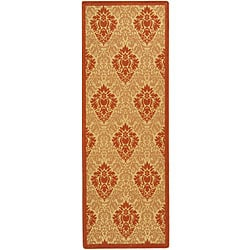 Indoor/ Outdoor St. Barts Natural/ Terracotta Runner (2'4 x 6'7)
