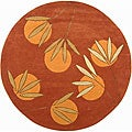 Handmade Soho Summer Rust New Zealand Wool Rug (6' Round)