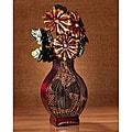 Metallic Figurine Floral Fan