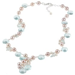 Miadora Sterling Silver Blue Topaz, Glass and FW Pearl Necklace (4-7 mm)